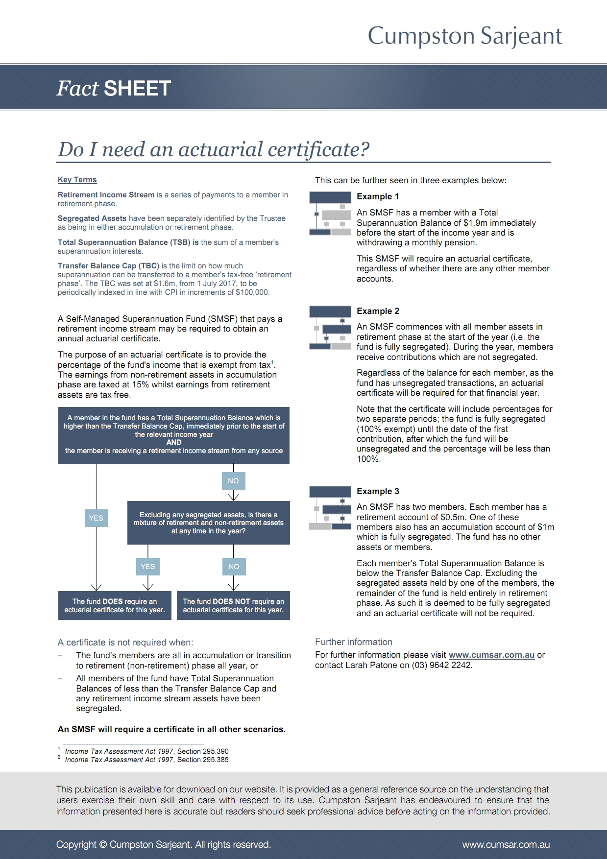 Fact Sheet: Do I need an actuarial certificate?